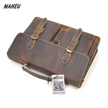 """Hard Crazy Horse Leather Men Laptop Bag 14"""" Genuine Leather Business Bags Male Briefcases Work Tote Retro Messenger Bag"""