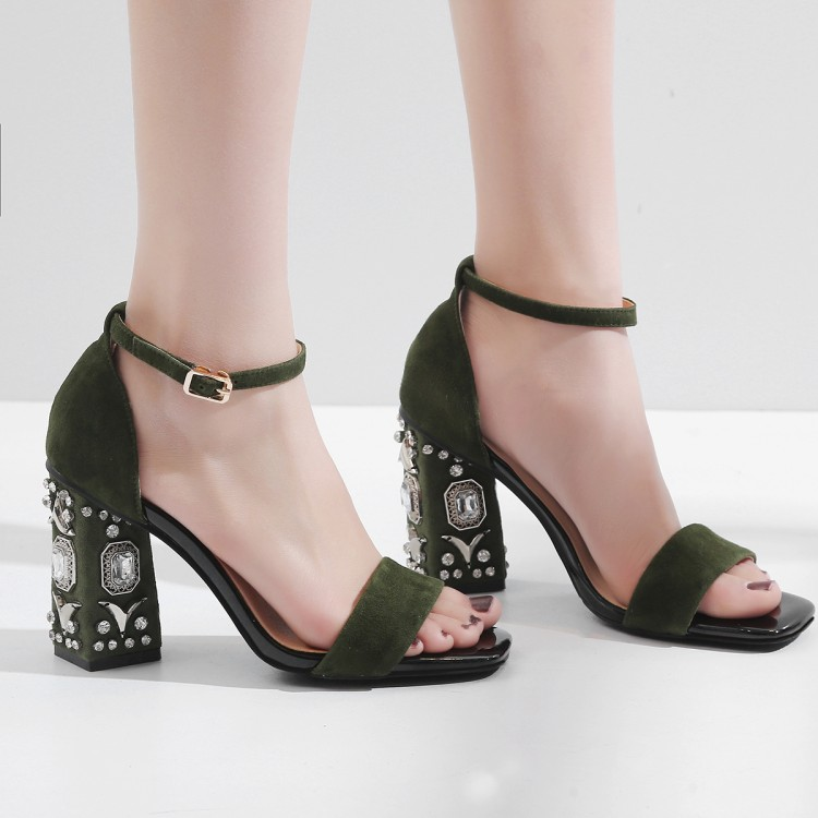 Alto verde Zapatos De Tacones 43 Verano Y 2018 Negro Militar Punta Sandalias Tacón Tamaño Vestido Grande {zorssar} Grueso Abierta Mujer Fiesta qCwxfvx