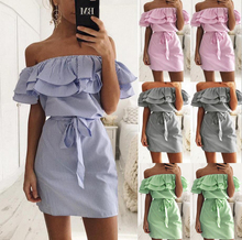 Off Shoulder Strapless Striped Ruffles font b Dress b font Women 2018 Summer Sundresses Beach Casual