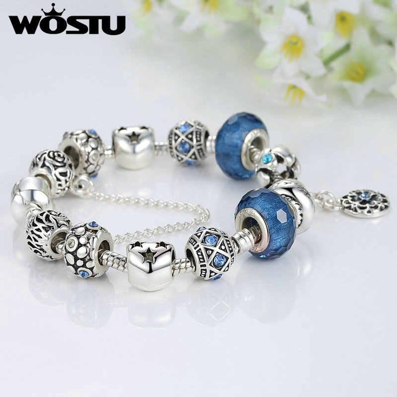 Gorąca sprzedaż srebrna bransoletka Charm dla kobiet niebieskie fascynujące koraliki Fit oryginalna bransoletka DIY biżuteria Pulseras prezent SDP1494