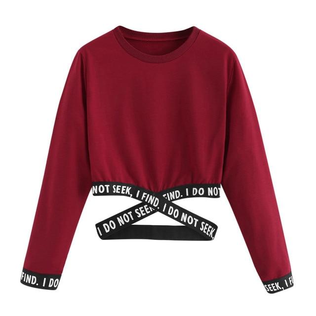 Women Crop Tops Short Sweatshirts Long Sleeve Loose Letter Print Hoodies Casual Outwear Spring Autume Pullover StreetWear tops