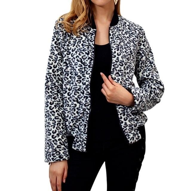 0b56e15b5610 LASPERAL Casual Baseball Long Sleeve Jacket Coat Tops Sweatshirt Bomber  Coat Women's Contrast Leopard Print Jacket Zip Plus Size
