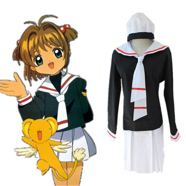 dress sailor uniform cosplay for cardcaptor sakura with wigs socks vestidos japanese anime halloween costume shimmer