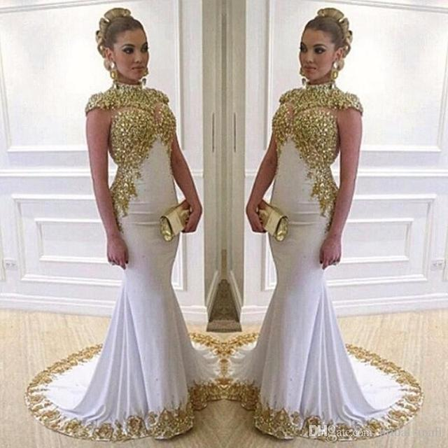2017 Gorgeous White Mermaid Evening Dresses High Neck Beaded Gold ...