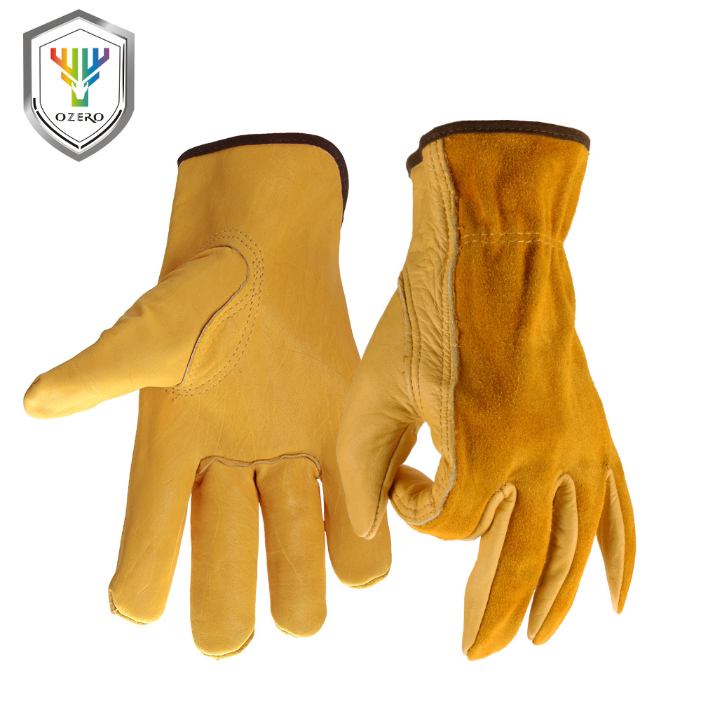 купить OZERO Cowhide Men's Work Driver Gloves Security Protection Wear Safety Workers Welding Hunting Gloves For Men 0007 недорого
