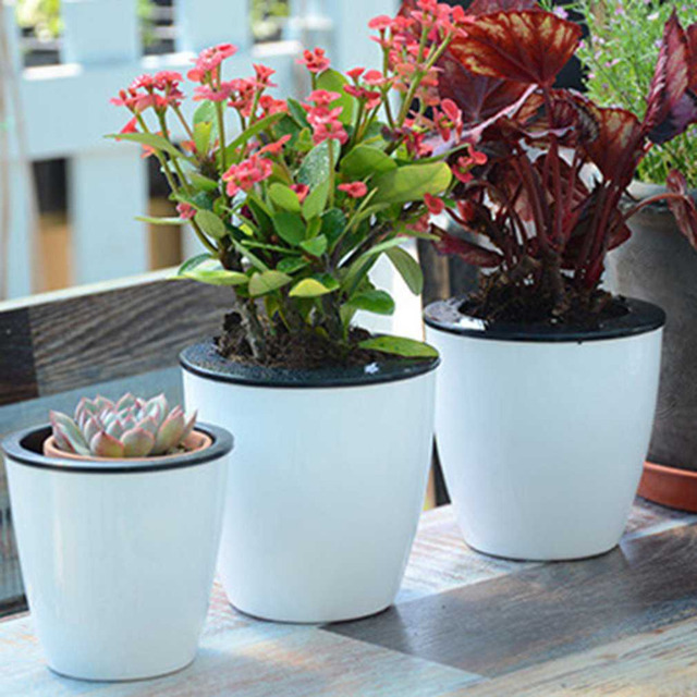 Automatic Self Watering Flower Plants Pot Put In Floor