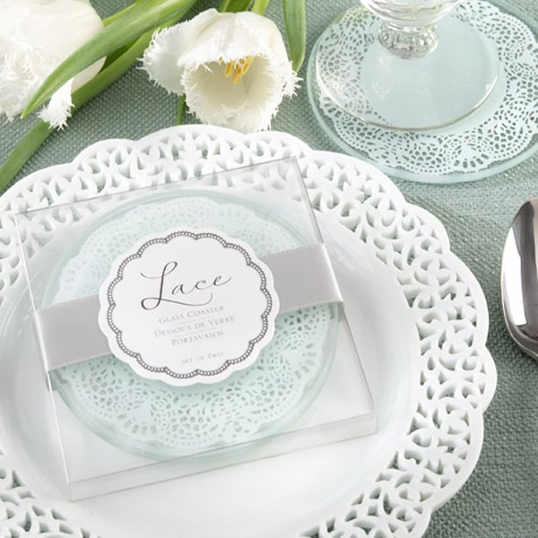 50set Glass Coaster Wedding Favors And Gifts Lace Coasters Supplies Party Guest Gift Box