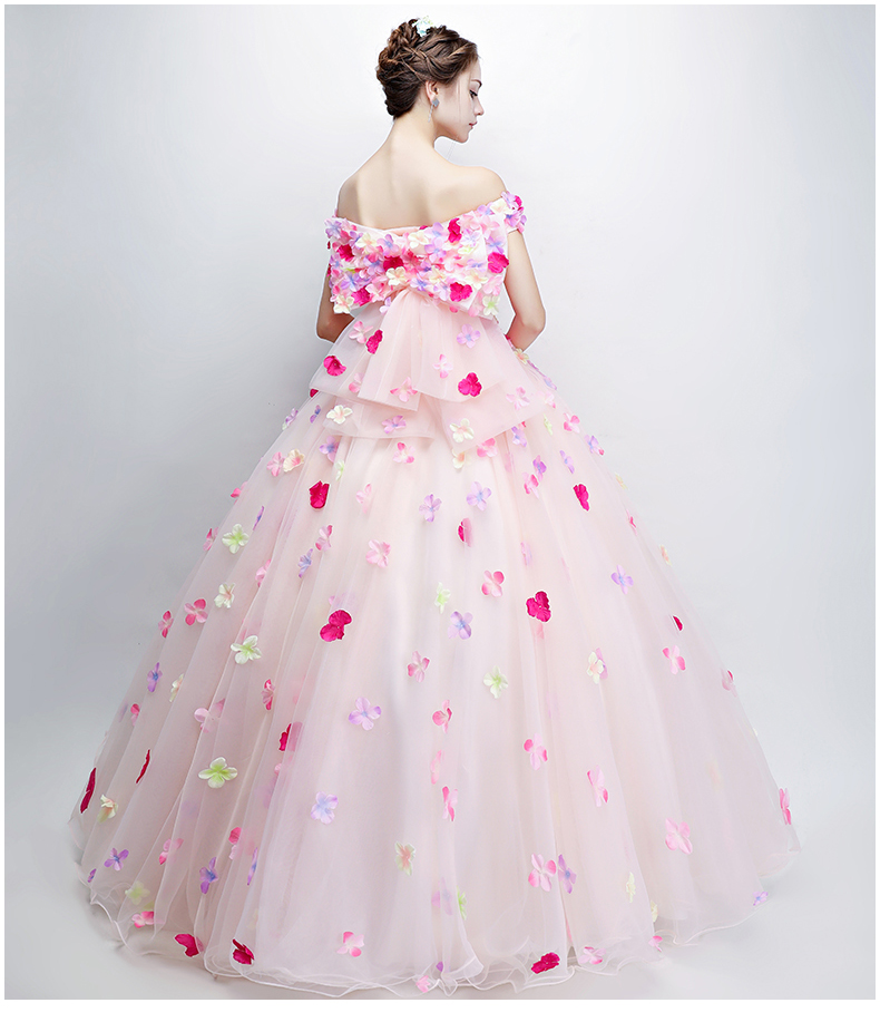 100%real full flower petals big bowknot backside ball gown medieval dress Renaissance Gown queen cosplay Victorian/Marie Belle