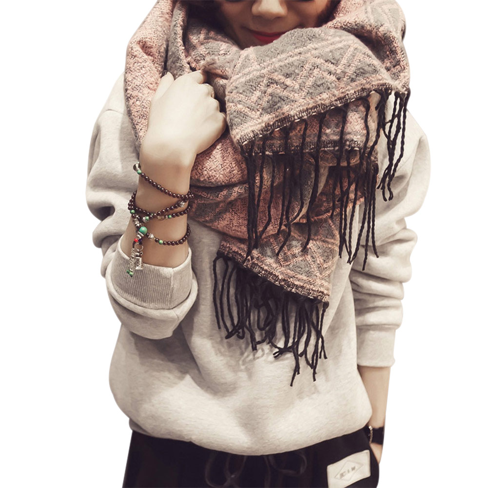 Women Faux Cashmere Scarf Shawl with Tassel Winter Warm Geometric Pattern Cloak Scarves -MX8