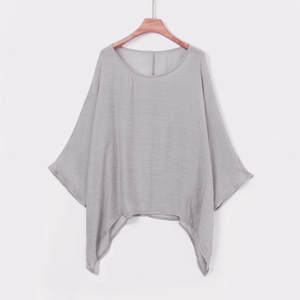 Shirt 5xl Tops Linen Batwing O-Neck Bohemian Loose Cotton Womens Solid-Color Plus-Size