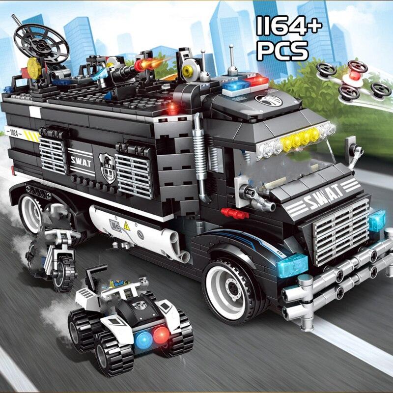 Oyuncaklar ve Hobi Ürünleri'ten Bloklar'de Askeri Şehir Dönüşüm Polis Karakolu Yapı Taşları Uyumlu Legoings Teknik SWAT Takım Kamyon Tuğla çocuk oyuncakları Hediyeler'da  Grup 2