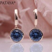 PATAYA Neue Runde Multicolor Natürliche Zirkon Baumeln Ohrringe Frauen Mode Einfache Schmuck 585 Rose Gold Farbverlauf Blau Ohrringe
