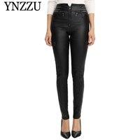 YNZZU 2019 Autumn Winter Black High waist Pencil Pants Women Fashion Plus size Faux Leather Trousers Casual Zipper PU Pants B366