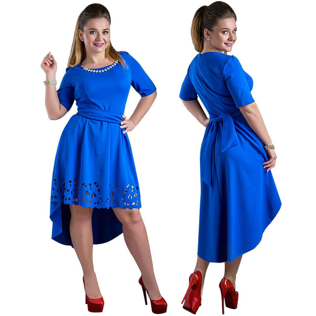 Plus Size High-Low Hollow Out Flare Casual Dress