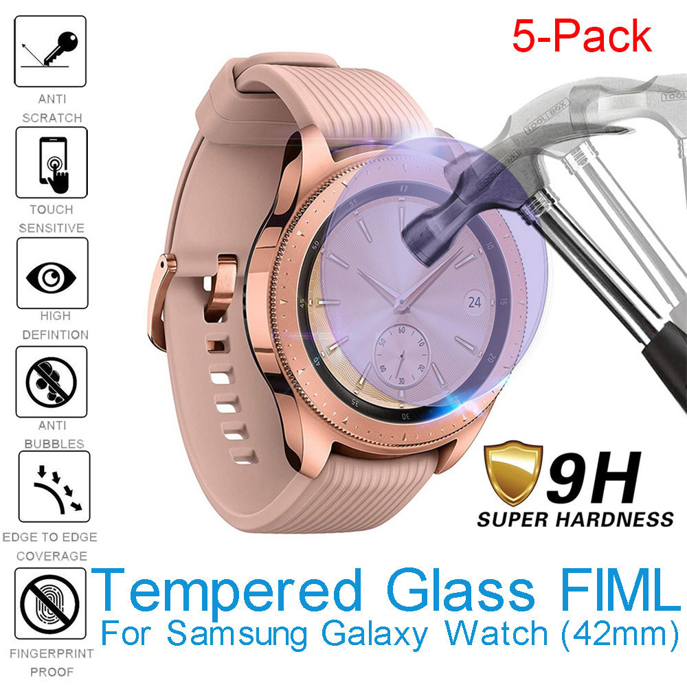 5pcs Anti Blue light Tempered Glass Screen Protector Full Cover Film For Samsung Galaxy Watch 42mm Protective Glass Bubble Free(China)