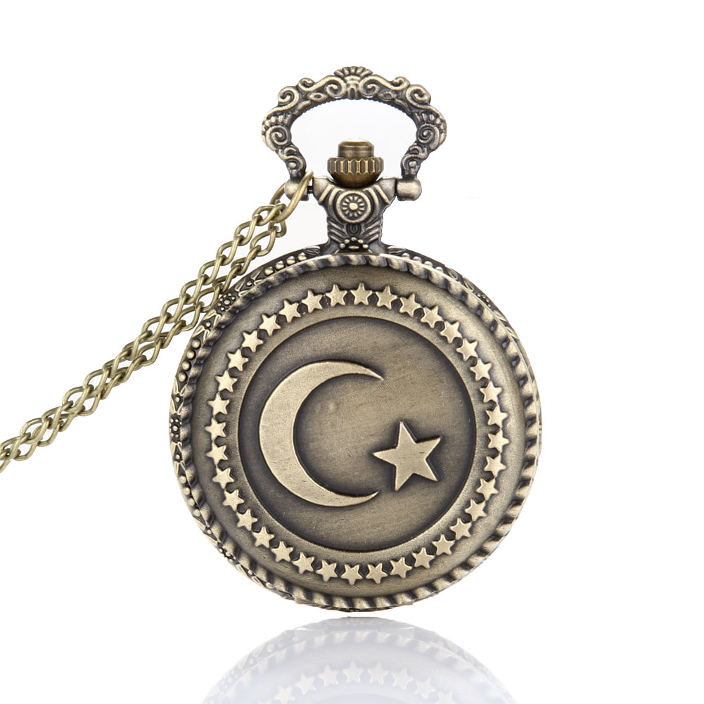 Lover Pocket Watch Antique Bronze Turkish Flag Design Moon and Star Theme Quartz Pocket Watch With Necklace Chain Gift LL@17 antique retro bronze car truck pattern quartz pocket watch necklace pendant gift with chain for men and women gift