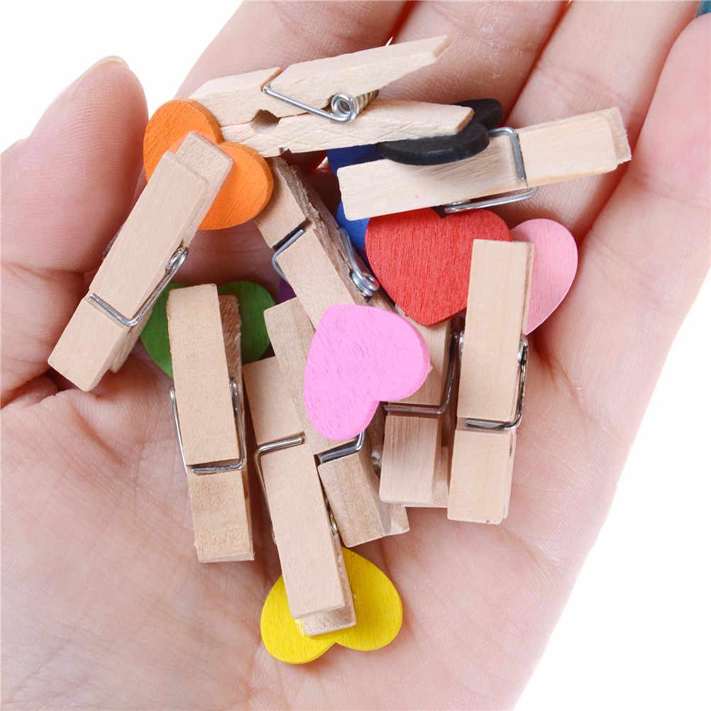 10 sztuk/partia pocztówki klipy rzemiosło biurowe Party Decor Mini serce miłość drewniane ubrania papier fotograficzny Peg klamerka 3.5*0.8cm