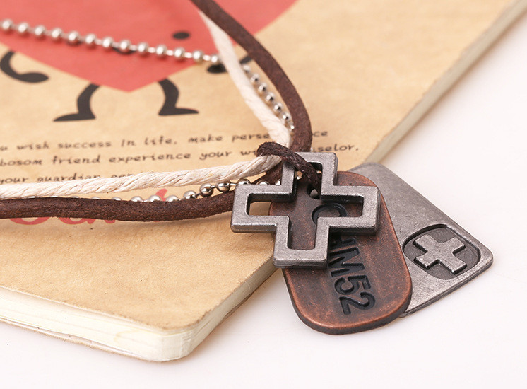 Male Jewelry Vintage Hemp Rope Leather Pendant Necklace Men's Colliers Colar Couro Hand Make Jewellery  (2)