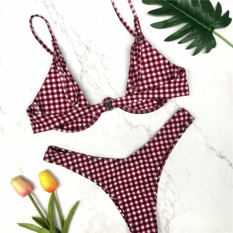 Bikini de corte alto sólido Push Up traje de baño mujer Sexy brasileño triángulo traje de baño a cuadros mujer de cintura baja ropa de playa