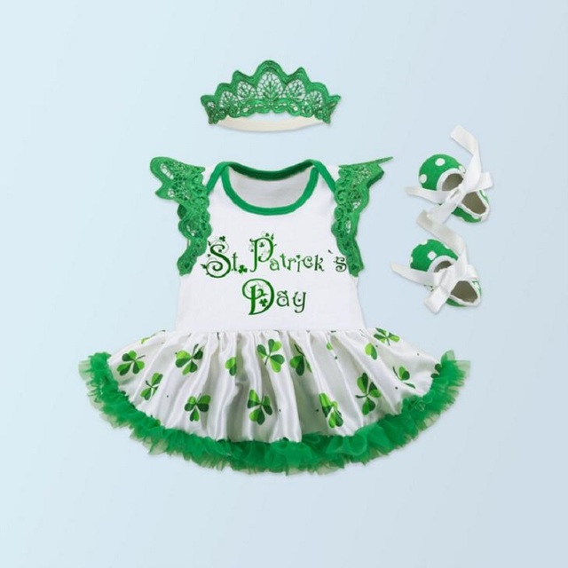 New baby girl clothes Green St Patrick Day bebe Bodysuit dress rompers Baby girl Dress Headband shoes Toddler jumpsuit sets