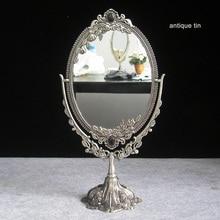Vintage de doble cara retro de aleación de estaño mesa de metal tocador de escritorio decorativo espejo en relieve Marco de maquillaje herramienta de escritorio set330C