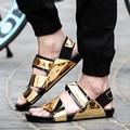 Новое прибытие 2016 лето мужской сандалии золото кожаные ботинки открытым носком сандалии тапочки мода повседневная пляж сандалии гладиаторов