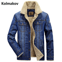 KOLMAKOV 2017 Autumn And Winter Men Jean Jacket Men Thick Denim Jackets For Men Stand Collar