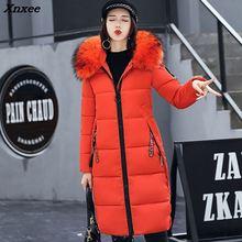 New Hot Women Winter Coat Fashion Female Big Fur Collar Duck Parkas Jacket Thick Warm Elegant Coat Slim Wadded Jacket