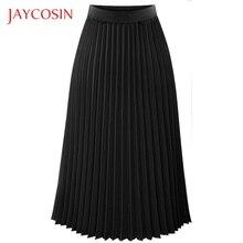 JAYCOSIN однотонная плиссированная элегантная миди эластичная талия Женская Макси юбка Повседневный случай полиэстер материал средняя длина Одежда
