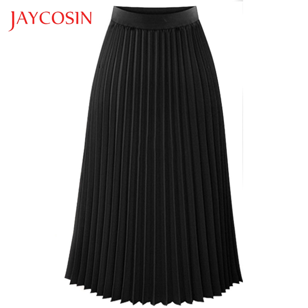 JAYCOSIN Solid Pleated Elegant Midi Elastic Waist Womens  Maxi Skirt Casual Occasion Polyester Material Mid Length Clothing