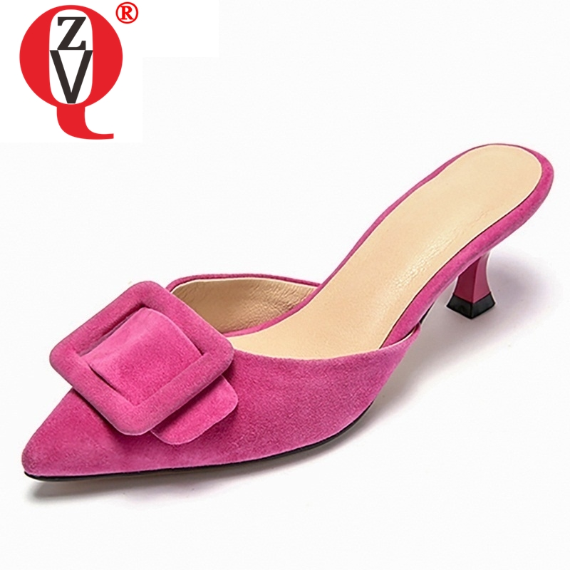 ZVQ women slippers Video show fashion kid suede med thin heel spring summer buckle three colors