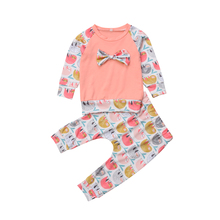 2Pcs Toddler Baby Girls Cartoon Monkey Print Long Sleeve Tops Bow Tie T-shirt Long Pants Outfits Clothes Set 2019 autumn baby girls casual long sleeve cartoon print t shirt tops stripe pants suits costume set