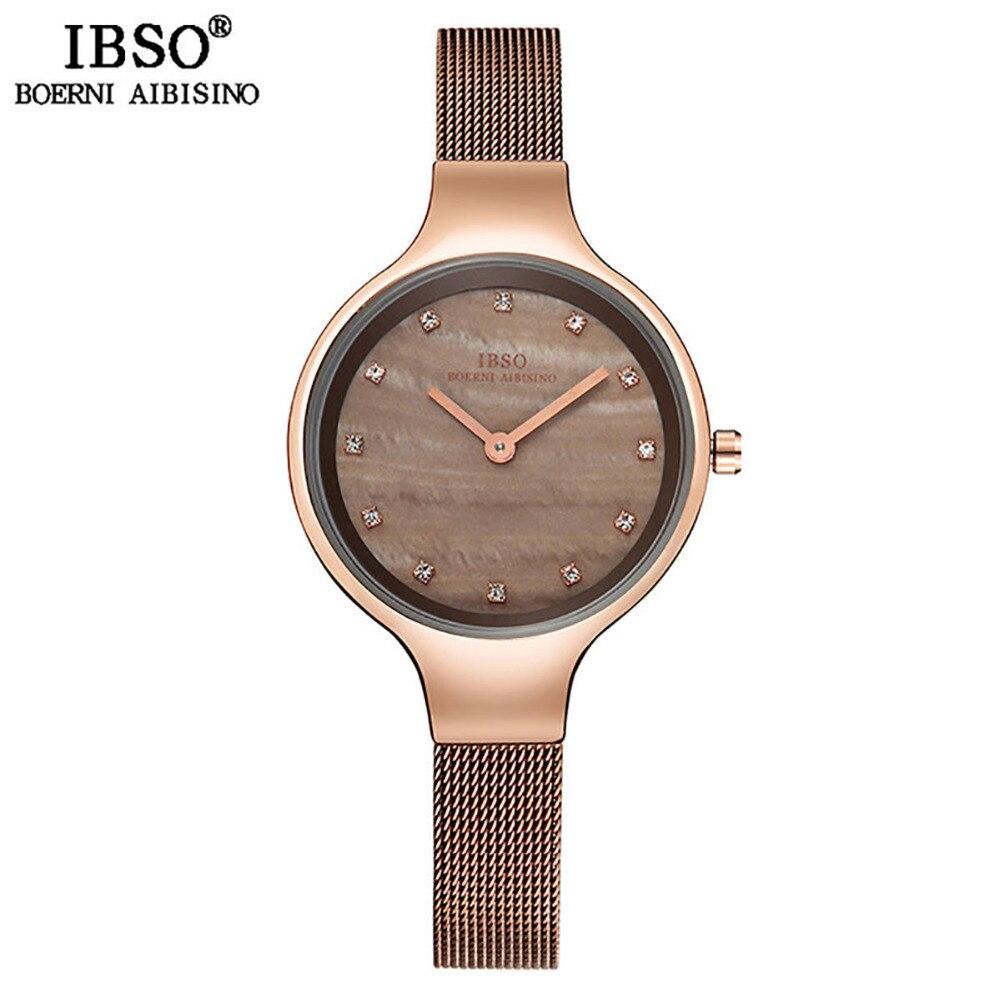 IBSO Brand Luxury Women Watches Golden Brown Shell Dial Diamond Female Watch Bracelet Gift Set New Design Clock 2018 IBSO2310S