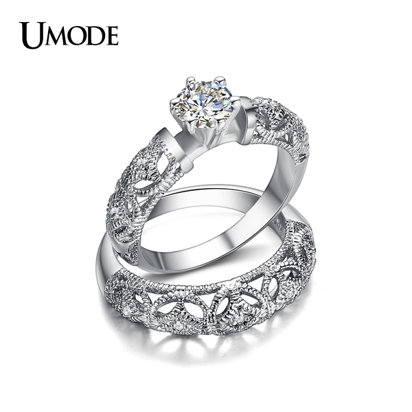 cz wedding ring sets umode 2016 new luxury carving filigree band aaa cz 3280