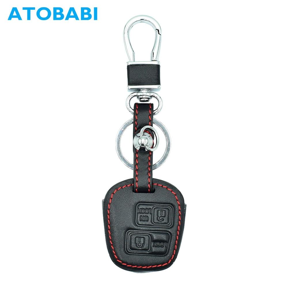 ATOBABI Genuine Leather Keychain Cover Skin for Lexus RX LS GX SC 2BTN for Toyota 4Runner Corolla RAV4 Camry Remote Car Key Case Lexus RX