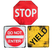 24x24 cm vintage license plates traffic safety signs retro iron painting STOP DO NOT ENTER YIELD number plate metal wall Decor