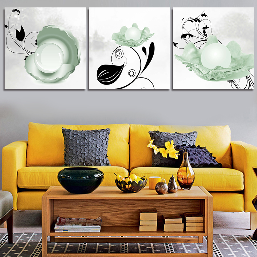 New Desginer 3 Panel Modern Art Canvas Oil Painting Pen and Ink ...