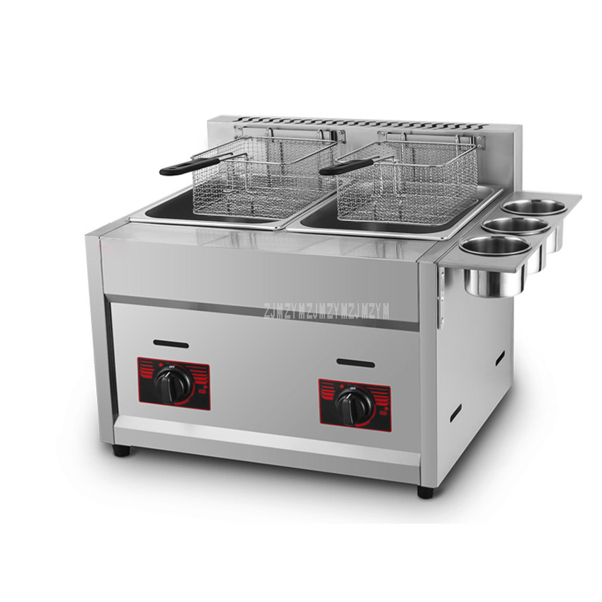 12L Double Tank French Fries Gas Fryer Stainless Steel High Quality Commercial Deep Fryer With 2 Fry Basket Oil Drainer