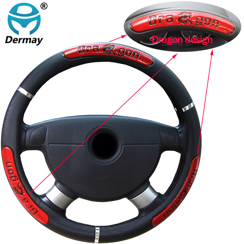 DERMAY  for braid Faux Leather Steering-Wheel /China Dragon Design Car Steering Wheel Covers 38CM/15""