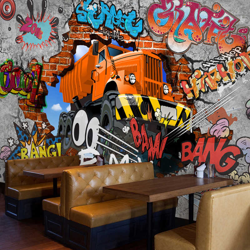 Пользовательские Плакат фото стена Бумага ретро ностальгия 3D мультфильм автомобиль граффити настенной Бумага для Гостиная ТВ фоне стены Бумага