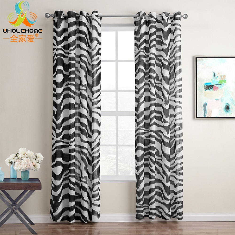Grommet Curtains Tulle Black Zebra