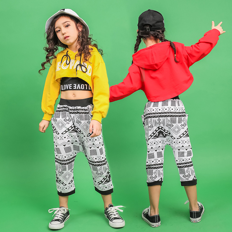 Modern Stage Ballroom Show Children's Dance Costumes For Girls Hiphop Street Dancing Clothes Hip Hop Clothing Kids Jazz Outfit