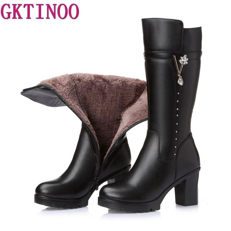 GKTINOO High Quality Knee High Boots Women Genuine Leather Winter Boots Comfortable Warm Fur Women Long Boots High Heels Shoes стоимость