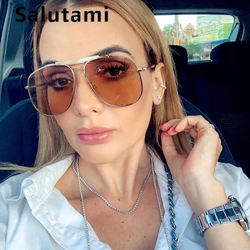 Lunettes de soleil Double Bridge pour femmes | Lunettes de soleil de marque de luxe, en alliage surdimensionné, lunettes noires Champanage pour hommes