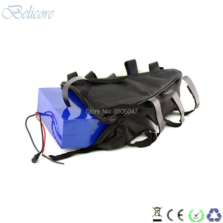 Best free shipping 48v 1500w electric bike li-ion battery 48v 30ah triangle ebike battery 48v 31.5ah with 4A charger 3