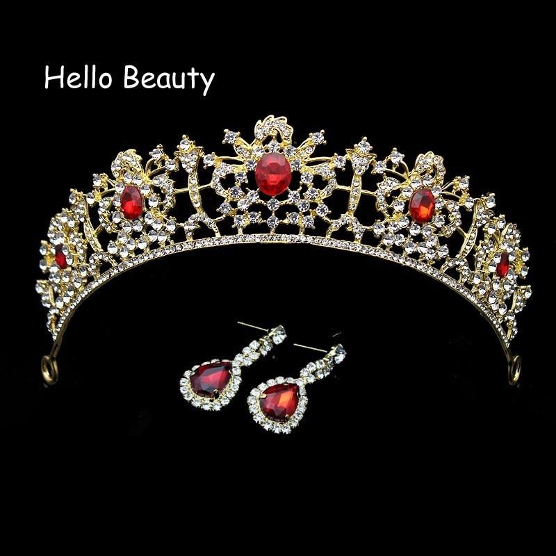 Dasma e kristalit e kuq dhe e gjelbër barok Promovimi Tiara - Bizhuteri të modës - Foto 4