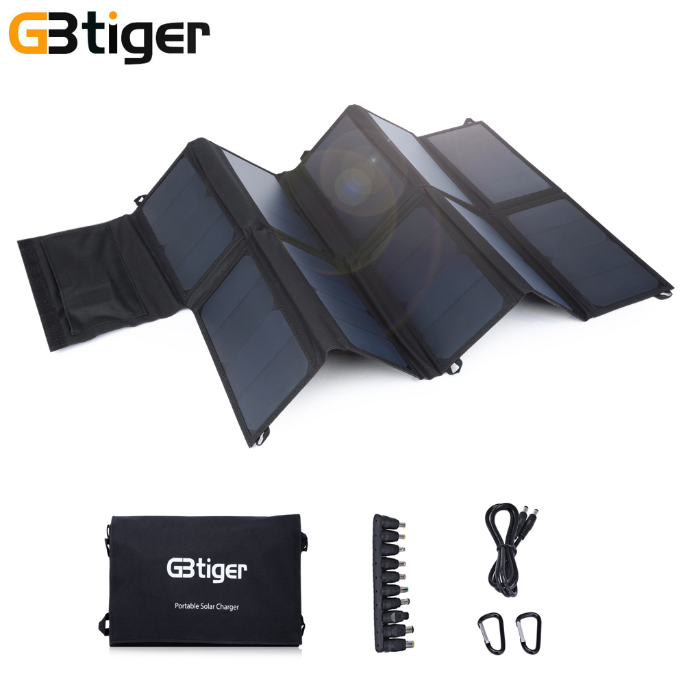 GBtiger 65W Dual Outputs Portable Sunpower Solar Panel Battery Charger Folding Emergency Bag Output 5V 2A DC 19V 3A USB DC port gbtiger black