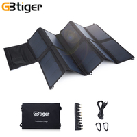 GBtiger 65W Dual Outputs Portable Sunpower Solar Panel Battery Charger Folding Emergency Bag Output 5V 2A DC 19V 3A USB DC port