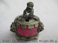 Elaborate China Tibetan Silver Lion Statue and Artificial Red Jade Incense Burner