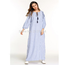 Womens' Casual Loose Lace-up Ethnic Style Vertical Stripes Long Sleeve Long Maxi Muslim Abaya Tunic Maternity Dress(China)